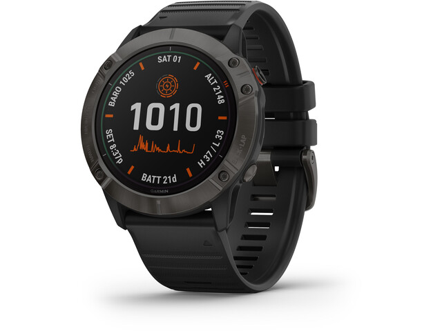 Garmin Fenix 6X Pro Solar Titanium DLC Multisport GPS Smartwatch, negro